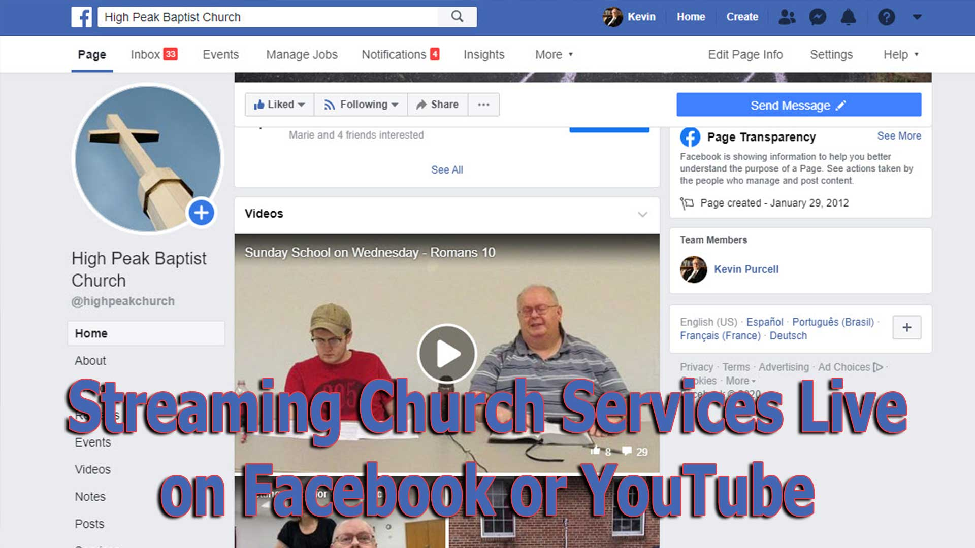 streaming church services live on facebook or youtube